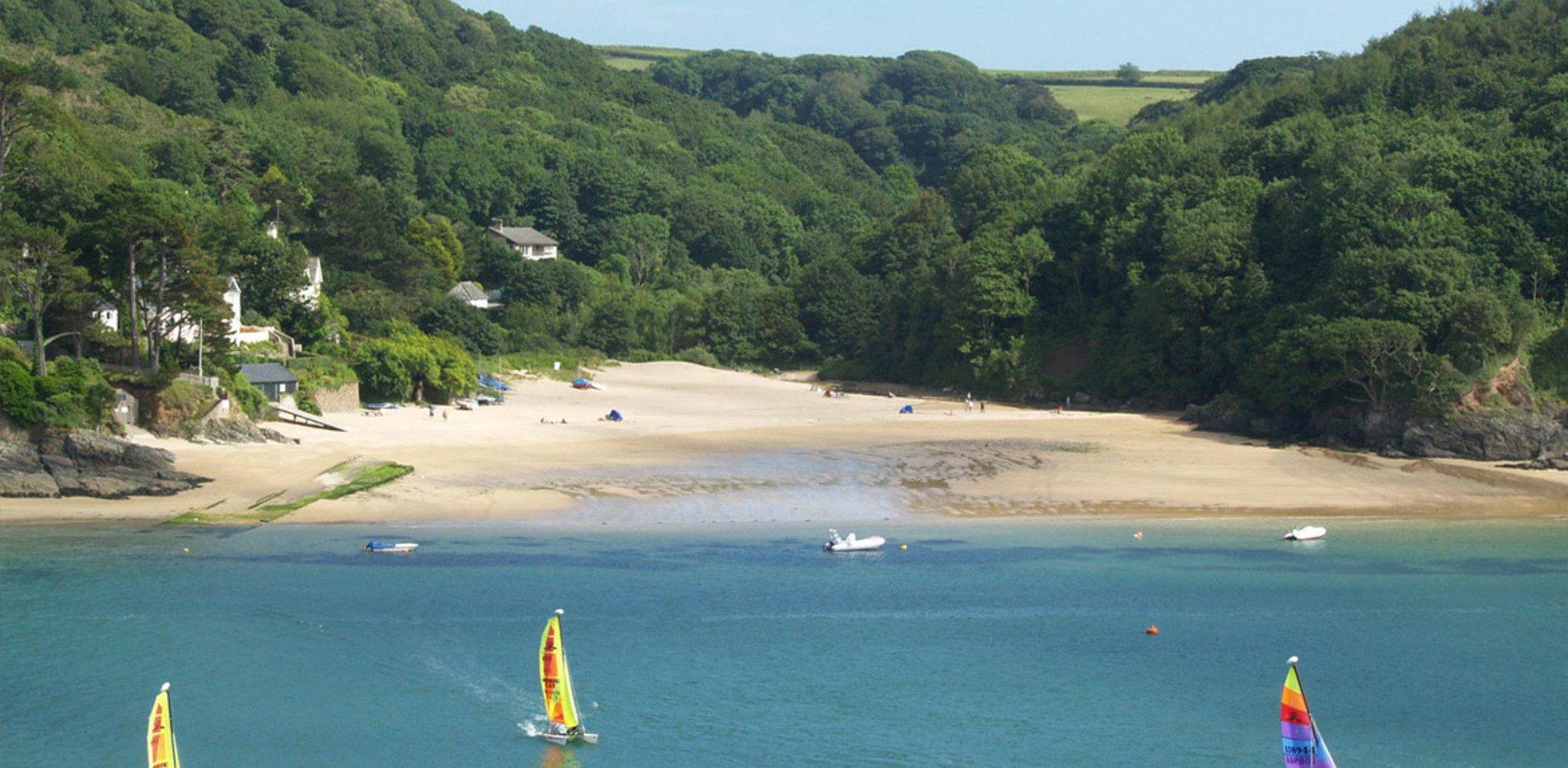 Sailing off Mill Bay Beach, Salcombe